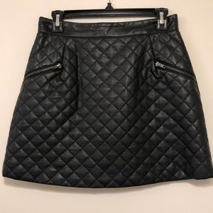 Quilted faux leather midi skirt with zip detail